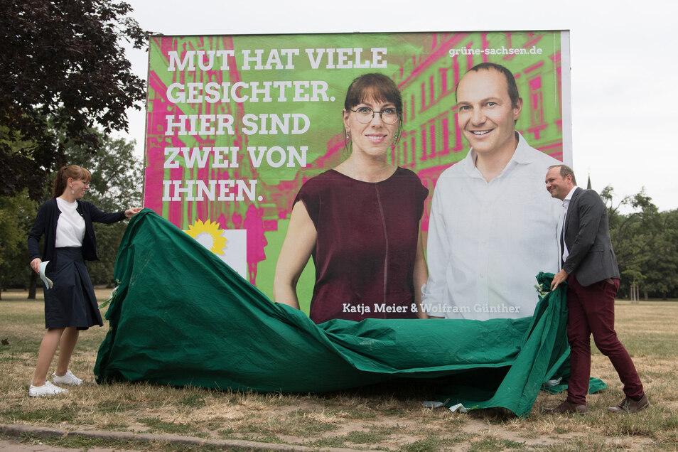 Die Grünen-Chefs Katja Meier und Wolfram Günther sind vielen Sachsen noch ziemlich unbekannt.