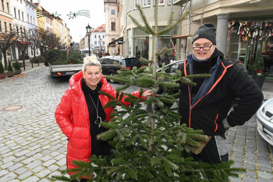 Die Werbegemeinschaft hat Weihnachtsbäume an die Löbauer Händler verteilt, damit sie ihre Geschäfte für den verkaufsoffenen Sonntag schmücken können.