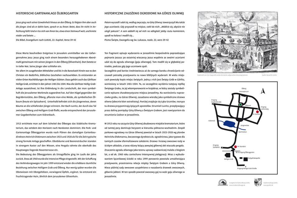 So sehen die zwei neuen Infotafeln im Ölberggarten aus. Sie informieren über die Bedeutung der Anlage.