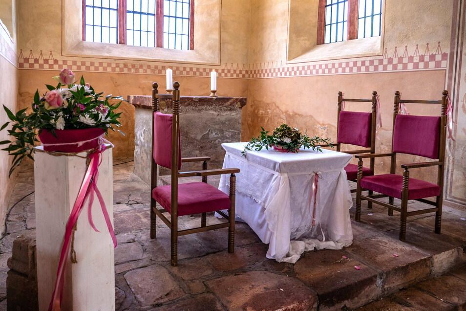 Vier Hochzeiten gab es 2020 in der Gutskapelle des Klosters Buch bei Leisnig. Seit Mitte 2019 ist die Kapelle eine Außenstelle des Leisniger Standesamtes.