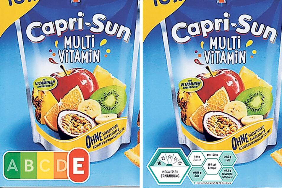 Logos im Verständlichkeitsvergleich: Links Nutri-Score, rechts auf der Capri-Sonne das Wabenzeichen des bundeseigenen Instituts.