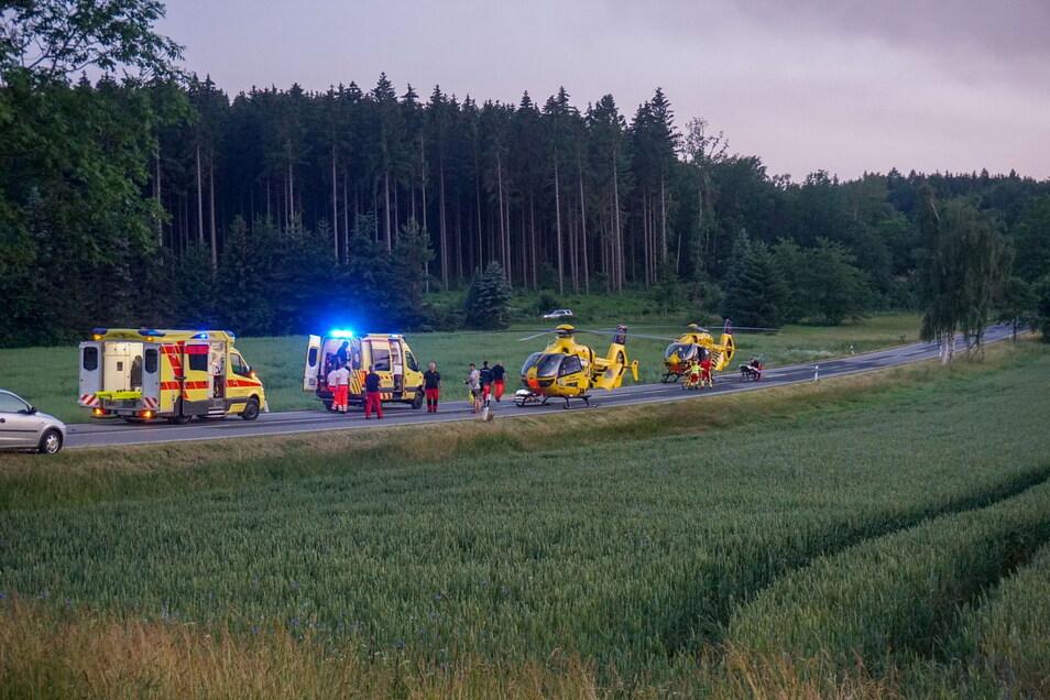 waren auch Rettungswagen, die freiwillige Feuerwehr aus Steinigtwolmsdorf mit drei Fahrzeugen, der Kreisbrandmeister sowie die Polizei vor Ort im Einsatz.