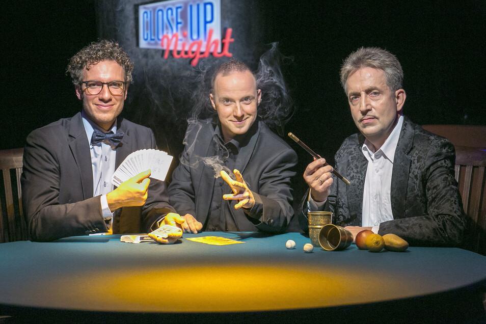 Mit ihren Tischtheatershows schufen Matthieu Anatrella, Torsten Pahl und André Kursch in Dresden ein deutschlandweit einmaliges Showevent.