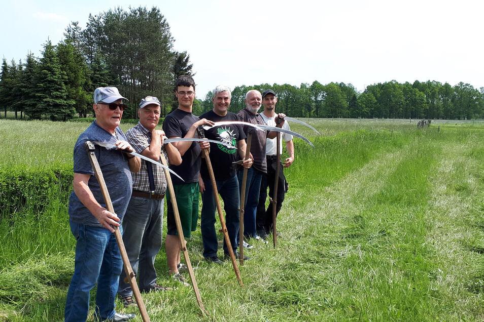 Im vergangenen Jahr zeigten die Männer von Klein Krauscha, wie sie mit der Sense umgehen können. Anlass war ein kleines Dorffest im Gut Krauscha.