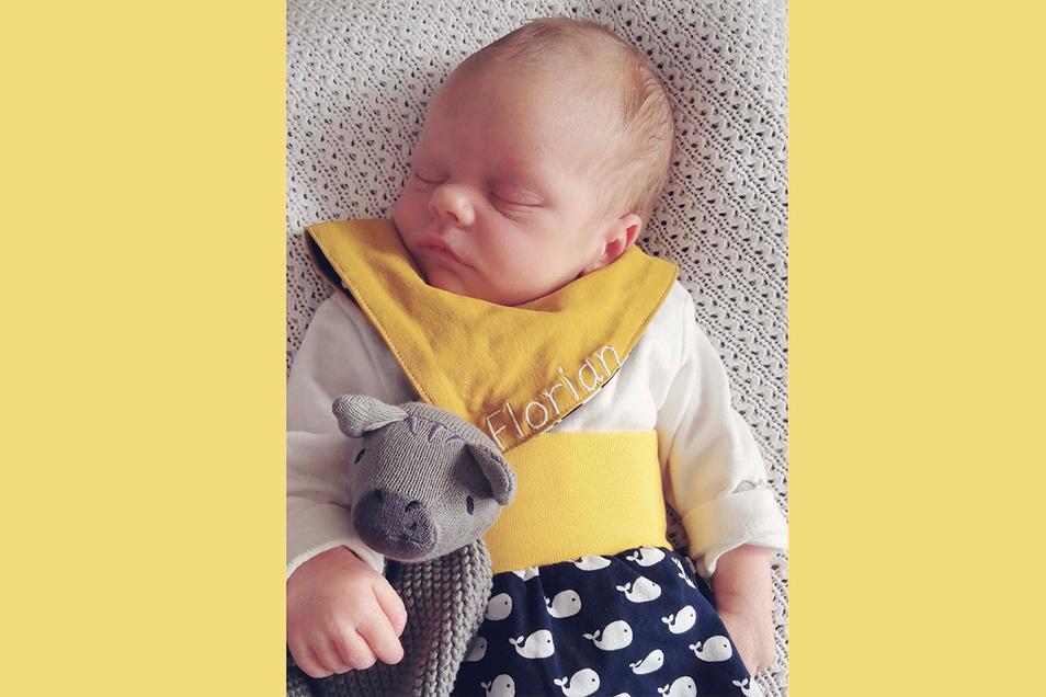 Florian, geboren am 31. März, Geburtsort: Kamenz, Gewicht: 3.320 Gramm, Größe: 51 Zentimeter, Eltern: Diana und Manuel Kretschmer, Wohnort: Räckelwitz