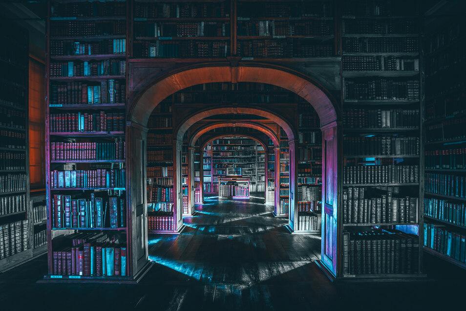 Im Sommer entstand das Bild aus der Oberlausitzischen Bibliothek der Wissenschaften. Auch hier: Mitten in der Nacht.