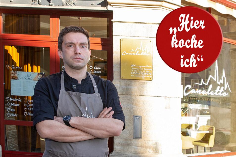 Torsten Lehmann, Koch vom Café Canaletto in Pirna, mag saisonale Küche und lässt alle teilhaben.