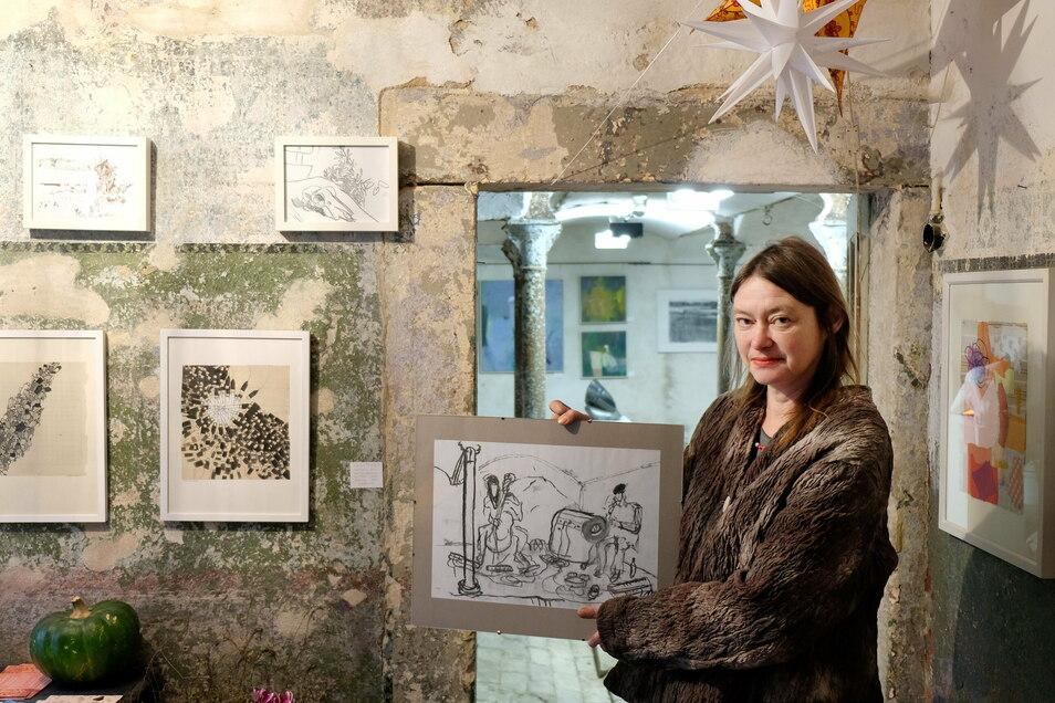 Die Winterausstellung mit etwa 100 Bildern hat Franziska Kunath auf ihrem Hof in Röhrsdorf mit viel Engagement organisiert. Sie hofft trotz der schweren Bedingungen auf Interesse.