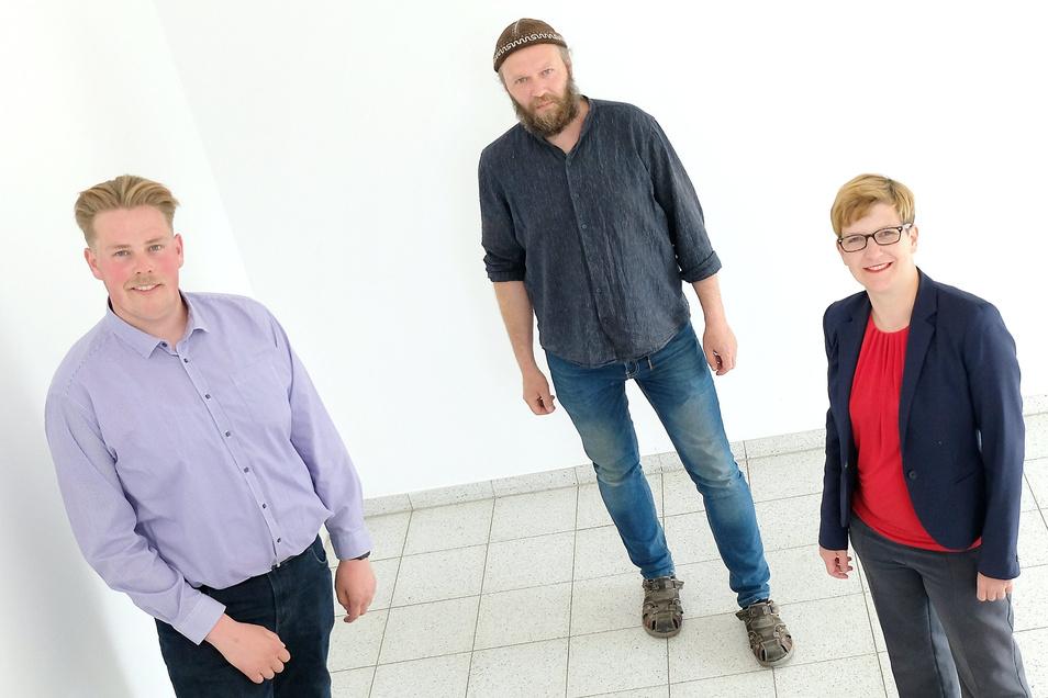 Ein linke Allianz - mit Abstand - auf dem Weg zum gemeinsamen Meißner Landratskandidaten: Erik Christopher Richter (Die Linke), Volker Herold (Bündnis 90/Die Grünen) unnd Susann Rütrhich (SPD).