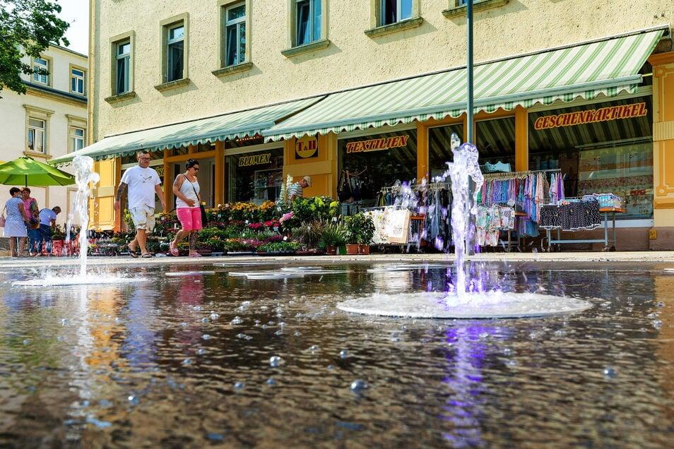 Auch ein Ergebnis der Städtebauförderung und -gestaltung in Heidenau: Das Wasserspiel auf der Thälmannstraße.