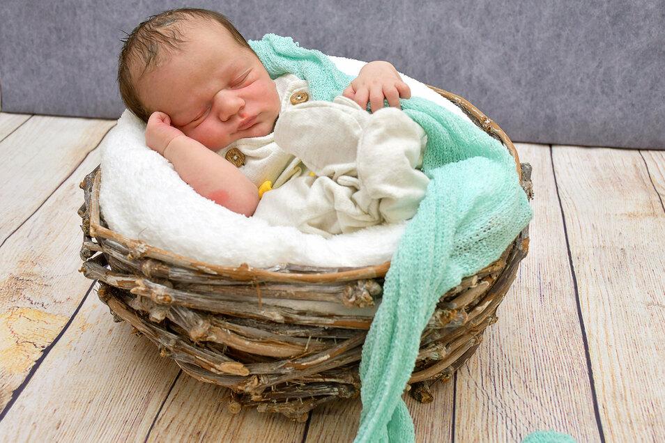 Etienne Gnaß, geboren am 30. Juli, Geburtsort: Städtisches Klinikum Dresden, Gewicht: 3.820 Gramm, Größe: 52 Zentimeter, Eltern: Sarah und Julian Gnaß, Wohnort: Dresden