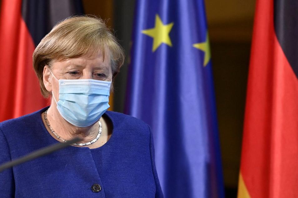 Bundeskanzlerin Angela Merkel (CDU) nach dem online EU-Sondergipfel zur Corona-Pandemie.