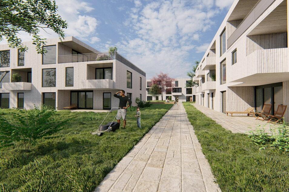 Visualisierung der geplanten Wohnsiedlung mit Mehrfamilienhäusern der Firma Bosch An den Obstwiesen. Erfahrungsgemäß wird etwa ein Drittel der Wohnungen von Werksmitarbeitern belegt, zwei Drittel kommen auf den freien Markt.