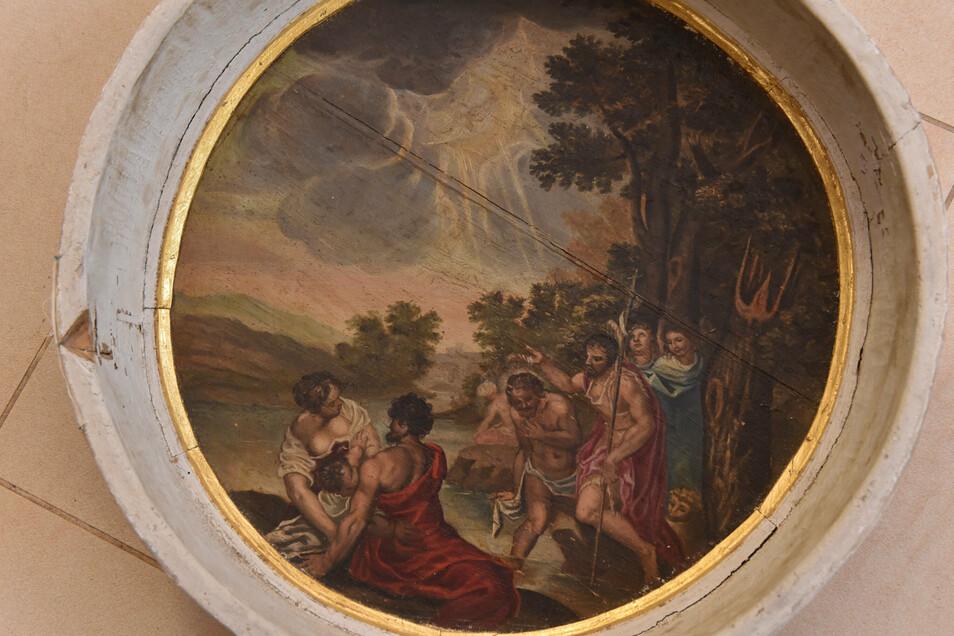 """Das historische Taufstein-Gemälde der """"Taufe Christi im Jordan""""."""