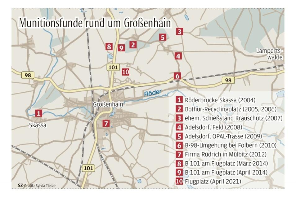 Seit 2004 sind zehn Munitionsfunde rund um Großenhain bekannt geworden - inklusive der Sprengung am 9. April