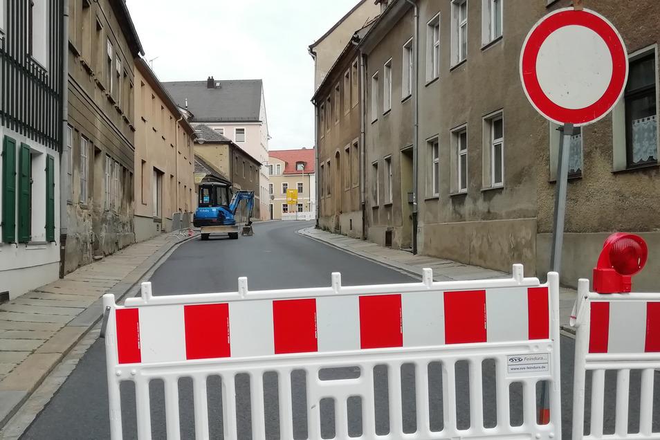 Auf der Pulsnitzer Straße in Kamenz wird gebaut. Die Sperrung kam etwas überraschend.