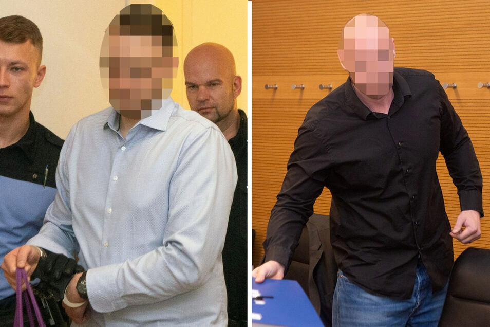 Christian L. (l.) und René H. wird vorgeworfen, auf dem Dresdner Stadtfest gezielt Flüchtlinge angegriffen haben. Ihr Prozess begann im September 2019. Erst jetzt hat ein Kronzeuge gegen sie ausgesagt.