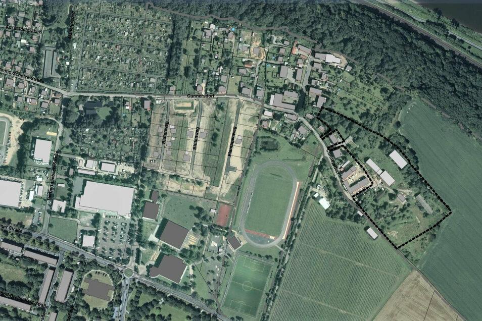 Blick auf die Ortsteile Sonnenstein und Cunnersdorf: Mit einer gestrichelten Linie ist rechts das neue Plangebiet markiert.