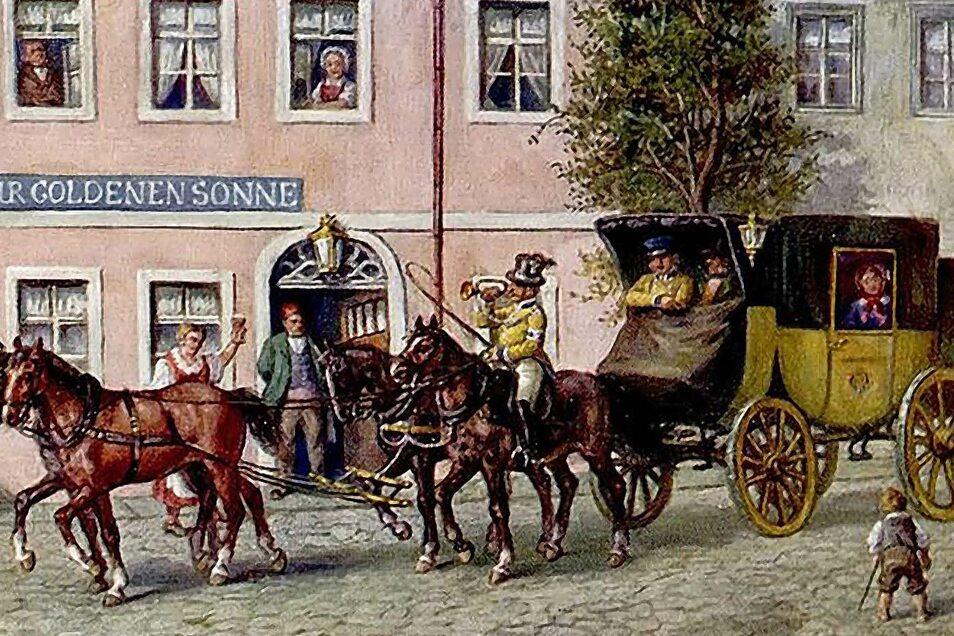 So fuhr einst die Post. Die zeitgenössische Darstellung zeigt einen seit etwa 1770 eingesetzten sächsisch-königlichen Eilpostwagen auf seiner letzten Fahrt der täglichen Linie Görlitz – Löbau im Jahr 1846 vor Eröffnung der Eisenbahn.