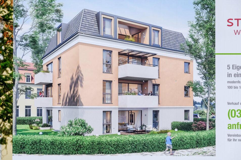 Dieses Mehrfamilienhaus soll in dem parkartigen Areal am Körnerweg gebaut werden. Die Möglichkeit der Heimbewohner zum Aufenthalt im Freien wird dann wesentlich beschnitten.