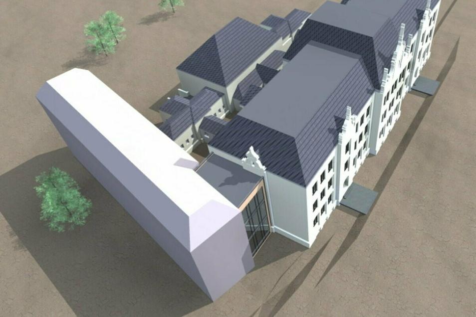 So soll der Neubau an der Zittauer Parkschule an der Max-Müller-Straße stehen.