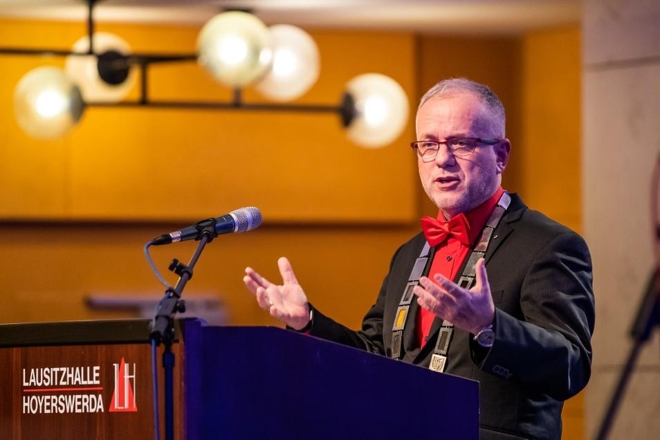 Hoyerswerdas Oberbürgermeister Stefan Skora (CDU) wirkte bei seinem letzten Neujahrsempfang gelöst.