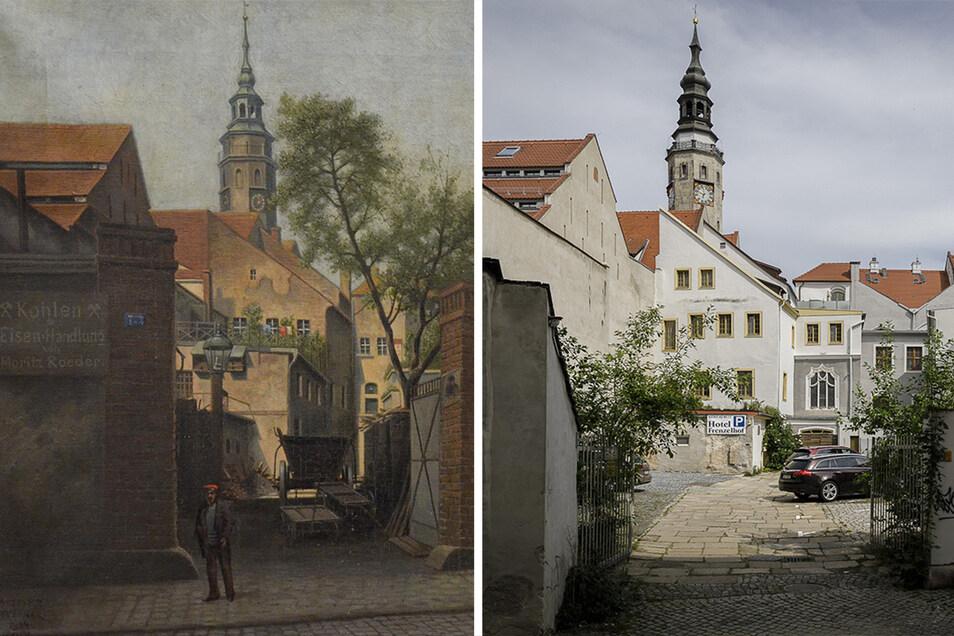 Der Görlitzer Malerwinkel: 1914 (links) und heute.