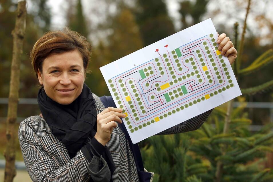 Die Idee für das Tannenbaum-Labyrinth, das auf dem Schulplatz in Kamenz Platz finden sollte, verschiebt Citymanagerin Anne Hasselbach nun ins nächste Jahr.