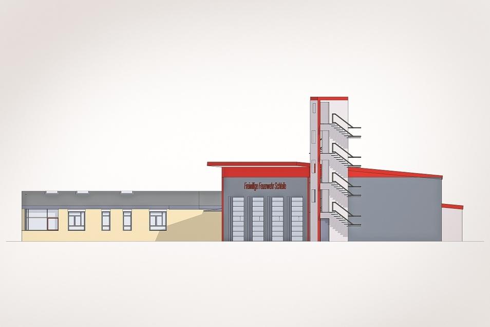 """o könnte das neue Feuerwehrgerätehaus in Schleife aussehen. Der Turm ist ein prägendes Element – mit einem """"Aber"""""""