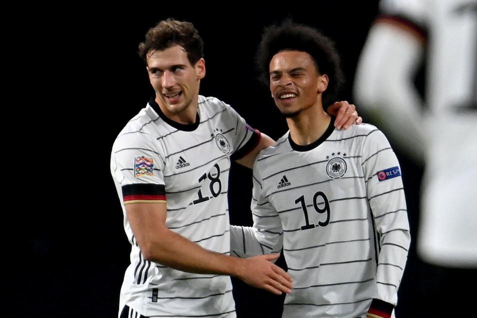Wer darf Thomas Müller gegen Ungarn ersetzen - Leon Goretzka (l.) oder Leroy Sané?
