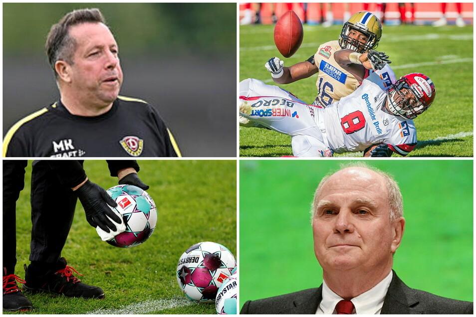 Der Sportdienstag aus sächsischer Sicht: Dynamo-Coach Kauczinski gibt sich kämpferisch, Leipzig spielt in der European League of Football, Uli Hoeneß lobt RB und die Regionalliga steht vor dem Abbruch.