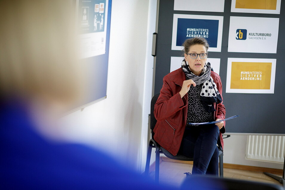 Grit Hanneforth bei einem Pressegespräch in Görlitz, Oktober 2020