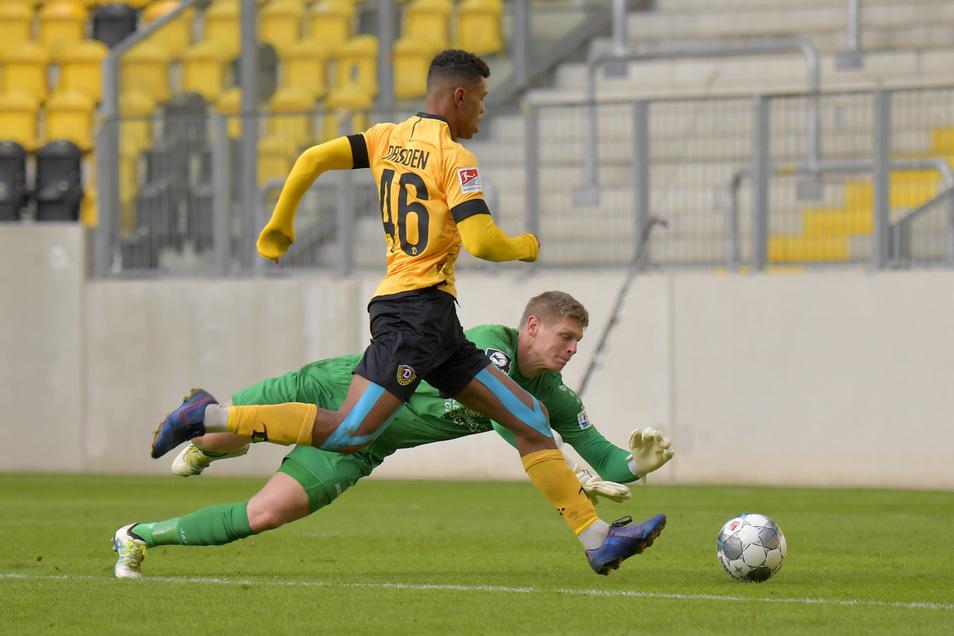 Ransford-Yeboah Königsdörffer kam für Dynamo auch im Testspiel gegen den Chemnitzer FC im November zum Einsatz.