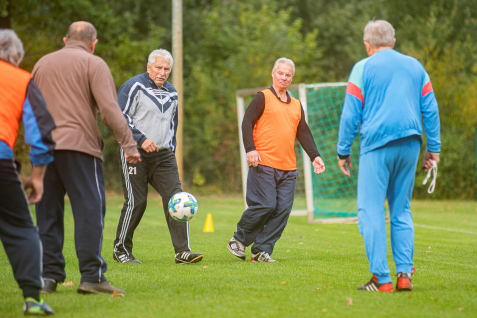 Beim GFV wird neuerdings Fußball im Gehen gespielt. Trainiert werden die Seniorensportler von Jürgen Lückmann (M.).