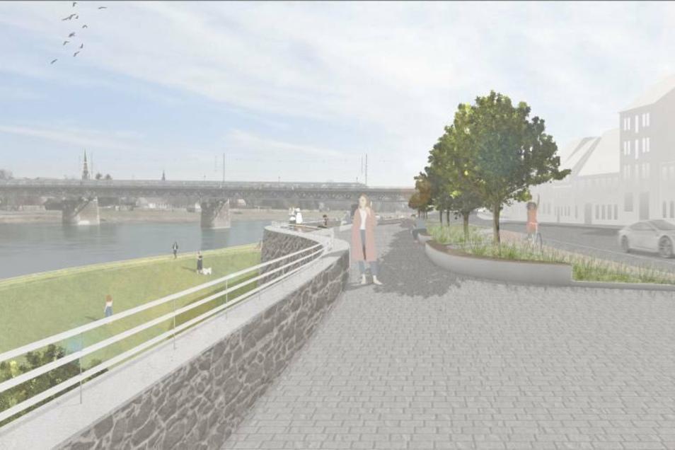 So könnte die Uferpromenade aussehen, die in der neuen Studie zum Hochwasserschutz der Altstadt vorgeschlagen wird.