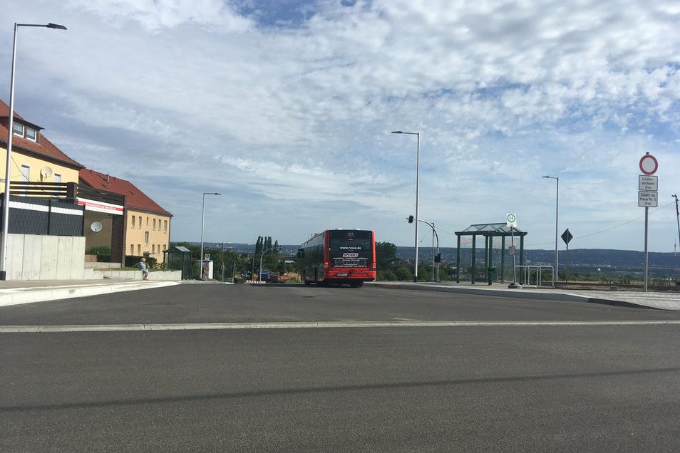 Der neue Buswendeplatz in Goppeln wird offiziell Ende August für den Verkehr freigegeben.