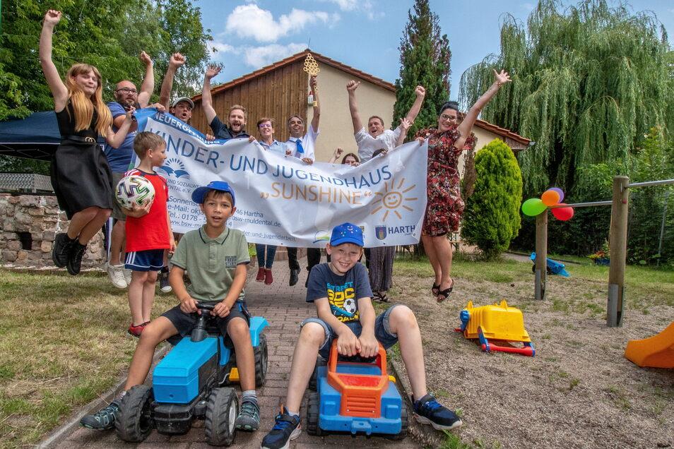 """Harthaer Kinder und Jugendliche freuen sich, dass sie die Jugend-Freizeiteinrichtung """"Sunshine"""" in Hartha wieder besuchen können."""