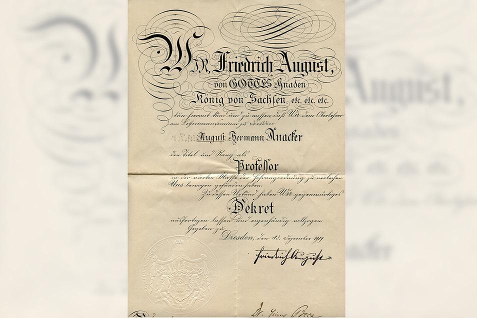 Auf dieser Großenhainer Urkunde hat Friedrich August III. persönlich unterschrieben.