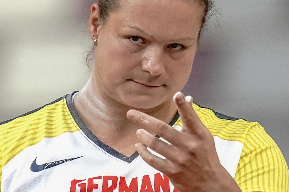Respekt von der Olympiasiegerin: Christina Schwanitz, hier bei der Qualifikation während der WM in Doha Anfang Oktober 2019.