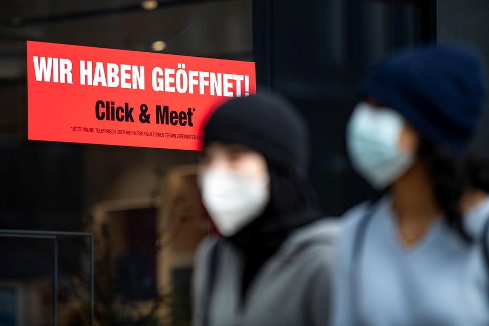 Im Kreis Görlitz seit Dienstag wieder erlaubt: Click & Meet in Geschäften, aber mit Corona-Test.