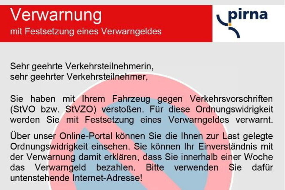 Neues Pirnaer Knöllchen: Parksünder können jetzt online den Vorgang einsehen und das Bußgeld zahlen.