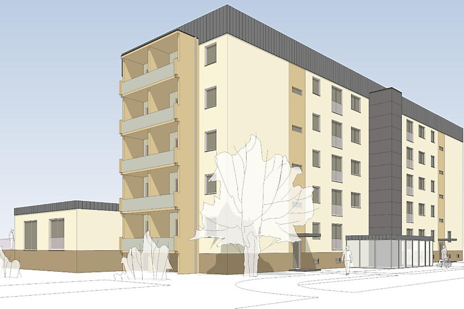 Diese Darstellung zeigt im Groben, wie der Fünfgeschosser an der Mittelstraße in Lauta nach der Fertigstellung im Frühjahr 2022 aussehen soll. Der Anbau (links) ist für die Tagespflege im Erdgeschoss des Hauses vorgesehen. Das verglaste Eingangsportal um