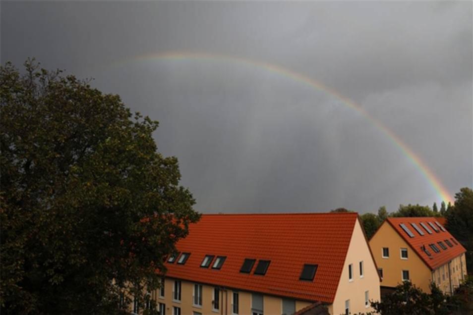 Und auch in Cotta zeigte sich ein Regenbogen.