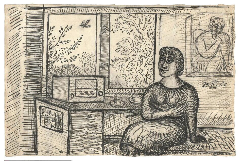 Tusche auf Papier: Diese Zeichnung entstand 1960.