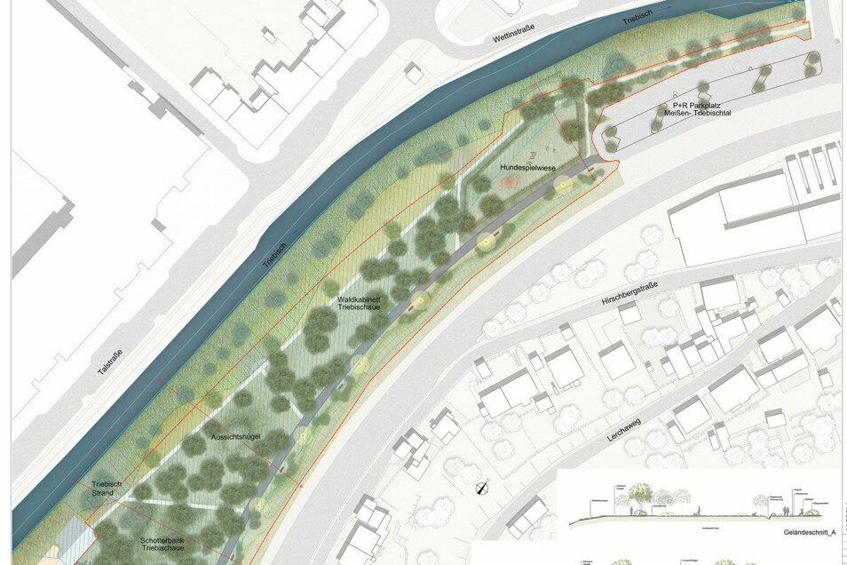 So sehen die Pläne für den Bürgerpark im Triebischtal aus.