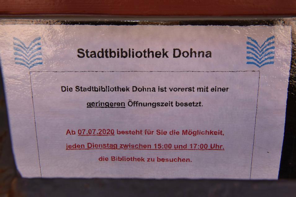 Nur noch zwei Stunden pro Woche ist die Dohnaer Bibliothek geöffnet und das in einer Zeit, in der die meisten Berufstätigen noch arbeiten.