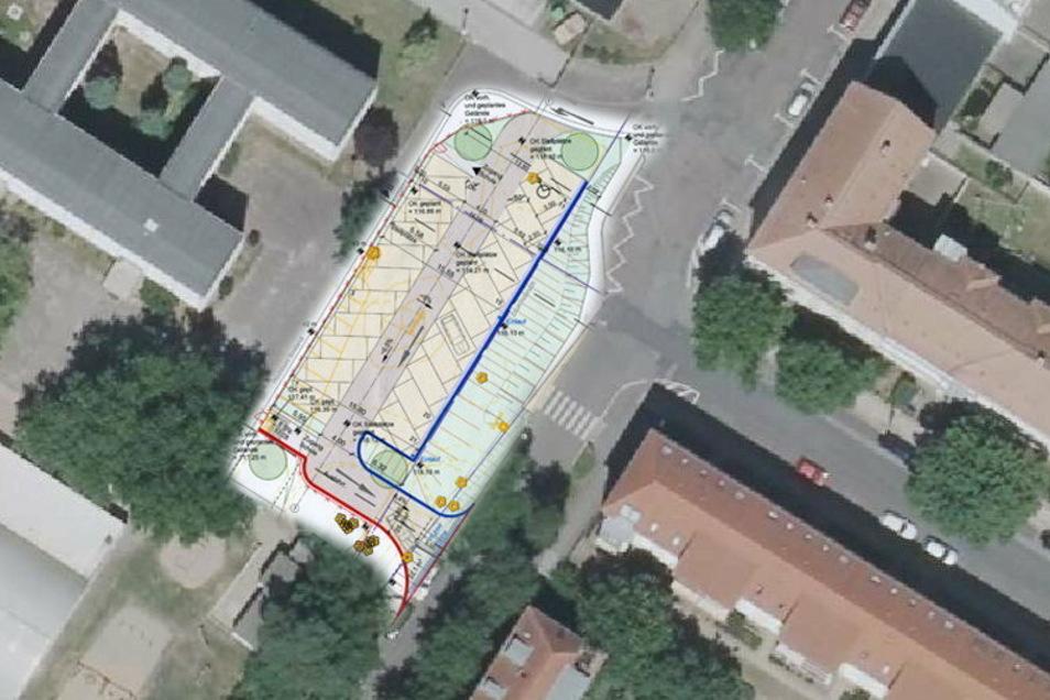 Parallel zur Schillerstraße könnte der Elternparkplatz entstehen. Links oben ist die Trinitatis-Grundschule zu erkennen, rechts unten beginnt die Heinrich-Heine-Straße.