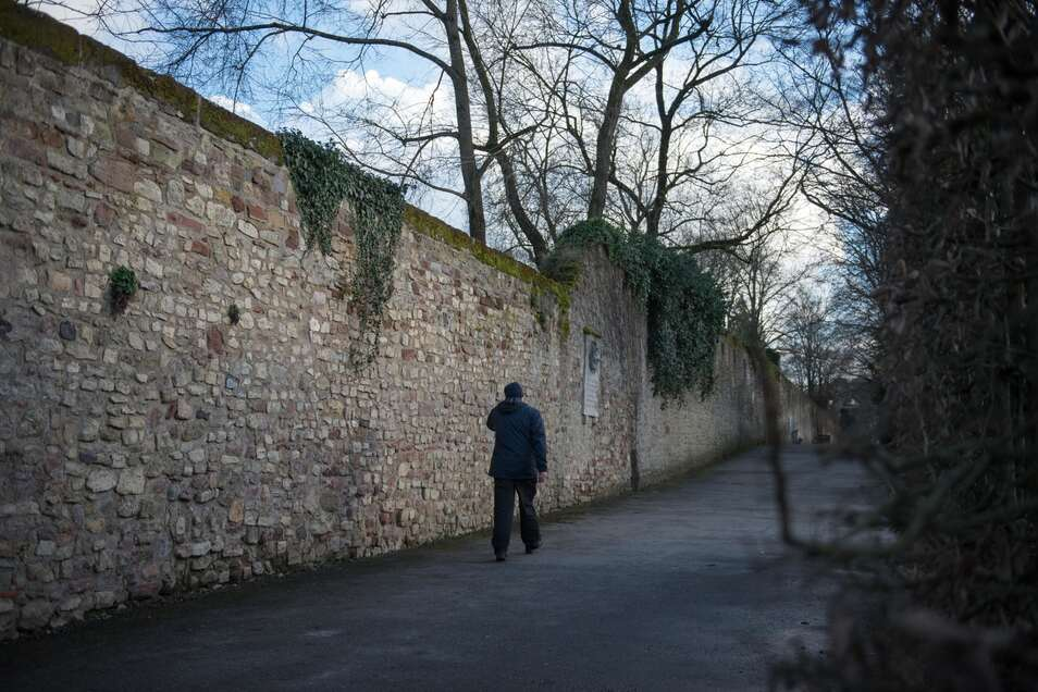 Von dieser 3,70 Meter hohen Mauer sprangen die Einbrecher auf ihrer Flucht vor der Polizei hinab. Im angrenzenden Palastgarten verlor sich ihre Spur.