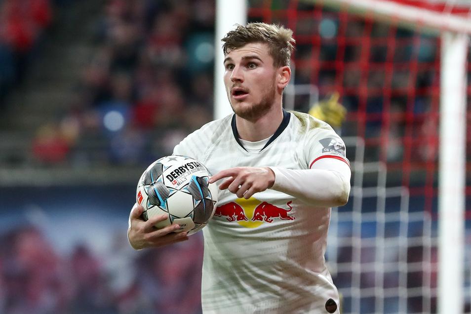 Nur noch bis zum Sommer für RB Leipzig am Ball? Timo Werner soll inzwischen offiziell vom Interesse des FC Liverpool Kenntnis haben.