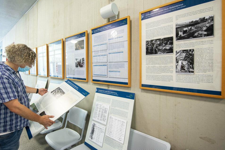 Frank Andert hat zum Thema Zwangsarbeit in Radebeul mit geforscht. Die Ergebnisse sind auf Tafeln zusammengetragen.